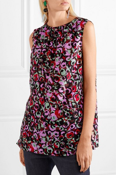 Marni floral-print silk crepe de chine top in pink - Marni's Francesco Risso is a master at combining colors...