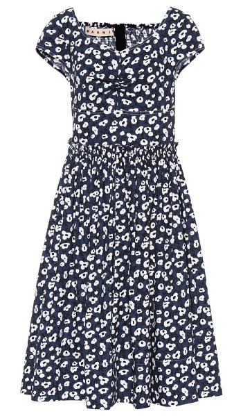 Marni floral-printed cotton dress in blue
