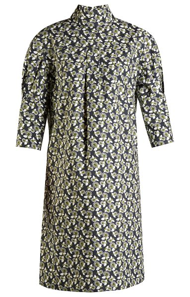 Marni High-neck floral-print midi dress in green print - Marni's penchant for print is perfectly illustrated in...