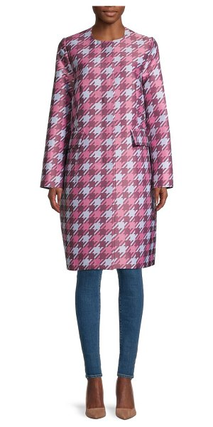 Marni Houndstooth-Print Coat in pink