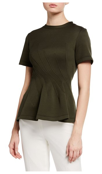Marni Jersey Stitched Peplum Top in olive