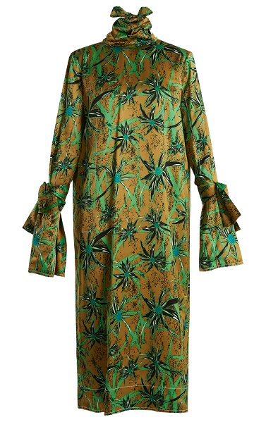 Marni Long Sleeved Herbage Print Midi Dress in green print - Marni - The marriage of artful prints and rich textures...