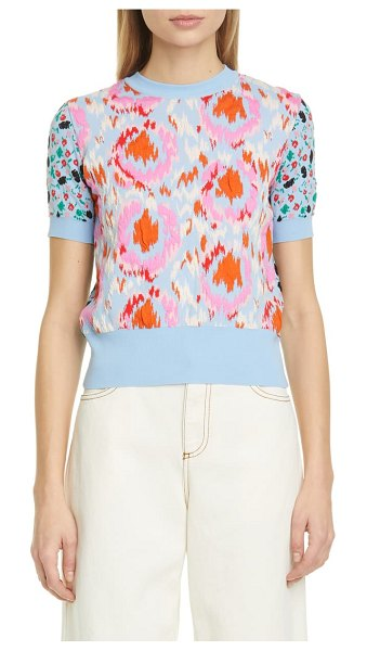 Marni mixed jacquard sweater in iris blue
