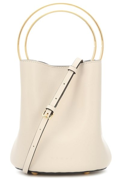 Marni pannier leather bucket bag in white