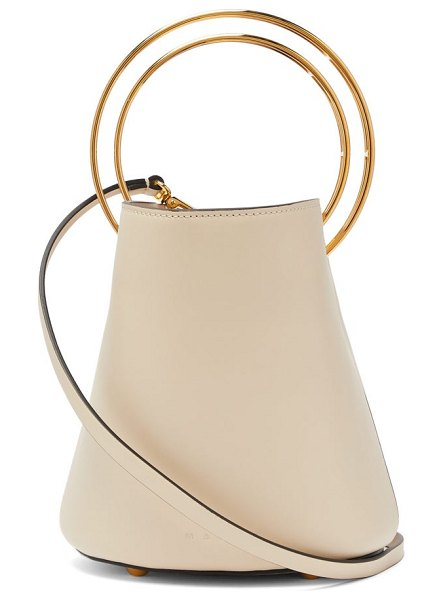 Marni pannier leather bucket bag in white - Marni - The gold-tone metal handles that adorn Marni's...