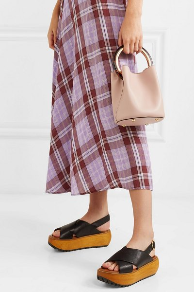 Marni pannier small leather bucket bag in pastel pink