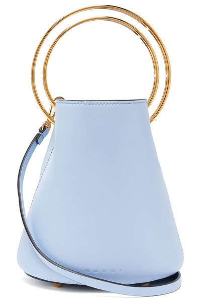 Marni pannier small leather bucket bag in light blue - Marni - Crafted with cut-out gold-tone metal top...