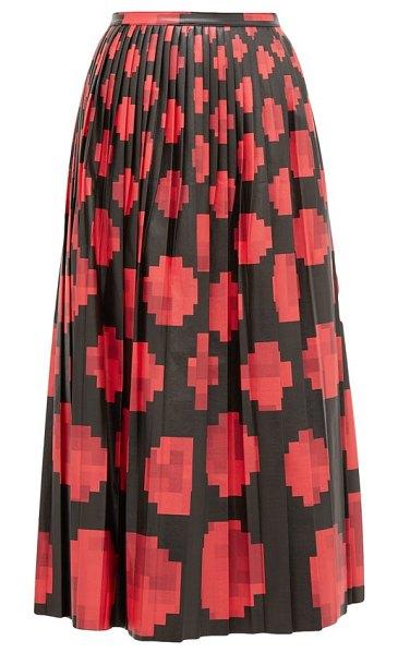 Marni pleated pixel print leather midi skirt in black red