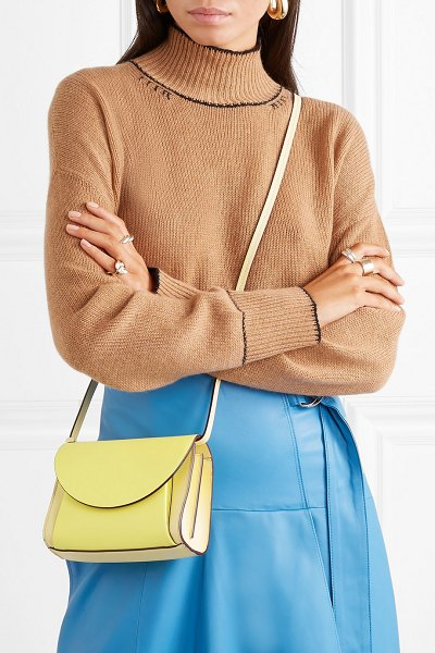 Marni pochette two-tone textured-leather belt bag in pastel yellow