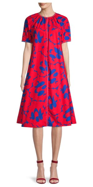Marni Printed Cotton A-Line Dress in red