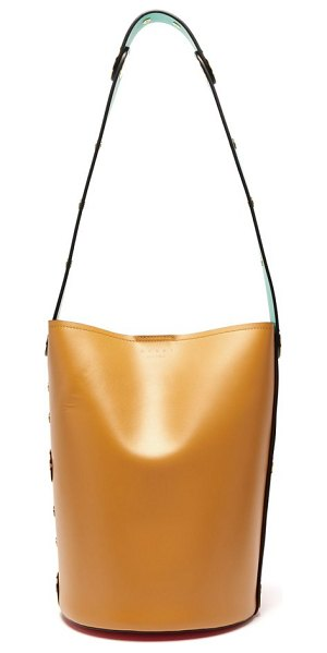 Marni punch leather bucket bag in red multi - Marni - Marni's tan and red green Punch bucket bag is...