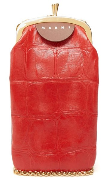 Marni top frame crocodile effect leather bag in red
