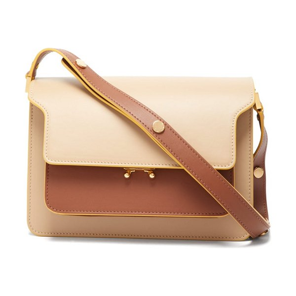 Marni trunk medium leather shoulder bag in beige multi