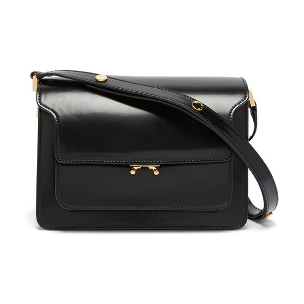 Marni trunk medium leather shoulder bag in black