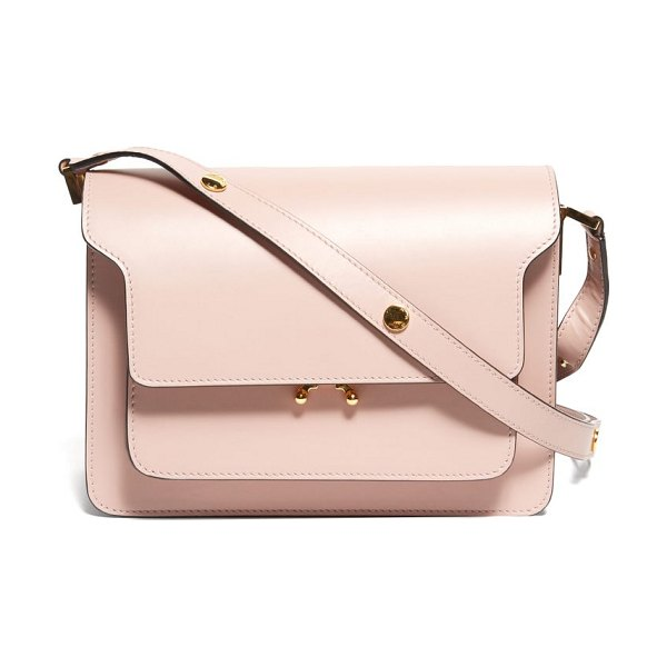 Marni trunk medium leather shoulder bag in light pink