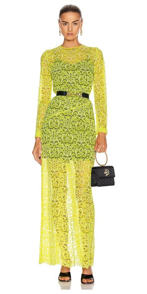 Marques Almeida long lace dress in yellow