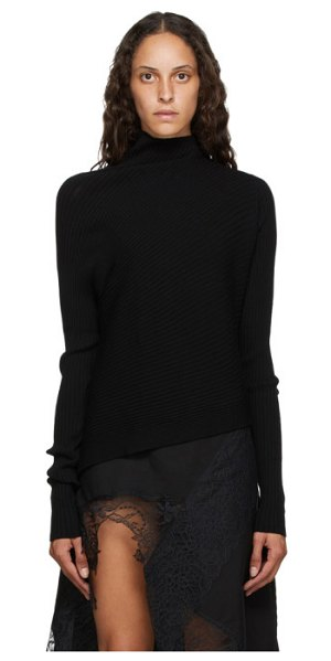 Marques Almeida rib knit asymmetric turtleneck in black