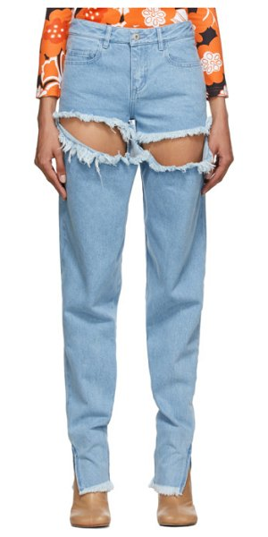 Marques Almeida ripped hip jeans in blue