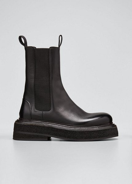 Marsell Leather Gored Chelsea Booties in black