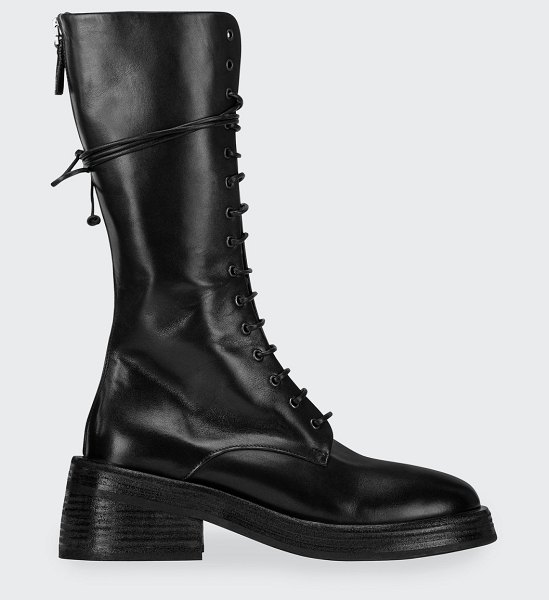Marsell Tall Leather Combat Boots in black