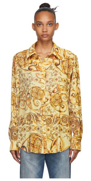 MARTINE ROSE gold classic pleated shirt in baroque gol