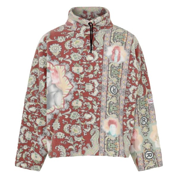 MARTINE ROSE portrait print fleece pullover in red