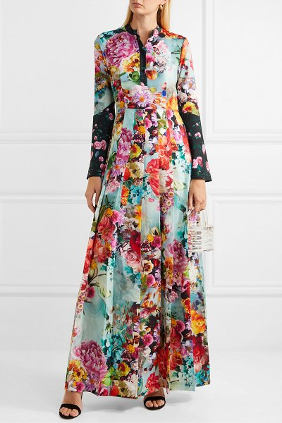Mary Katrantzou desmine floral-print crepe de chine maxi dress in blue