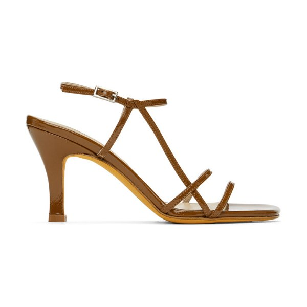 Maryam Nassir Zadeh brown patent irene sandals in 359 rust