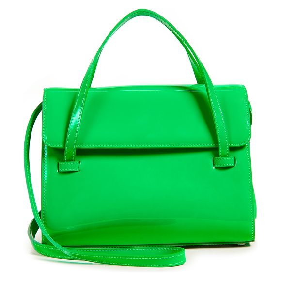 Maryam Nassir Zadeh marlow medium bag in green - Leather: Cowhide Patent finish Magnetic closure at front...