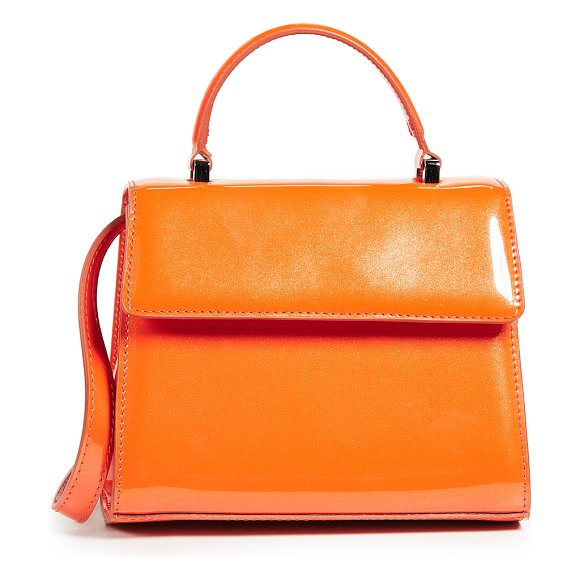 Maryam Nassir Zadeh marlow small bag in orange - Leather: Cowhide Patent finish with glitter Magnetic...
