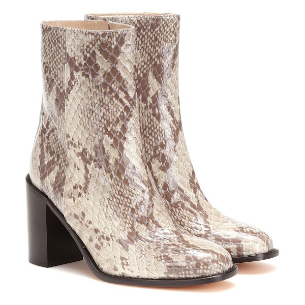 Maryam Nassir Zadeh mars snake-effect leather ankle boots in beige
