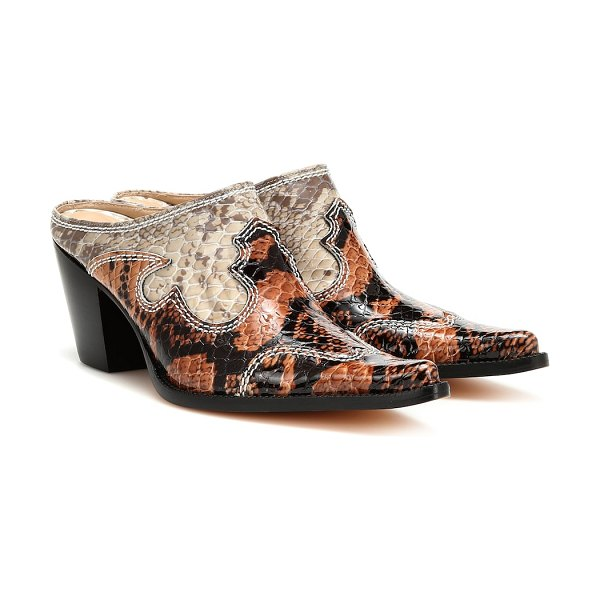 Maryam Nassir Zadeh romeo snake-effect leather mules in multicoloured
