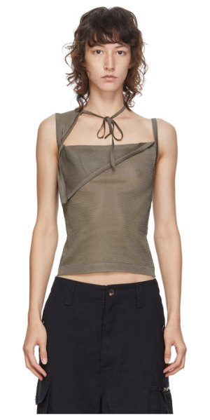 Maryam Nassir Zadeh ssense exclusive taupe sheer knit tank top in 654 taupe