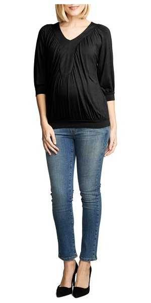 Maternal America ruched dolman top in black