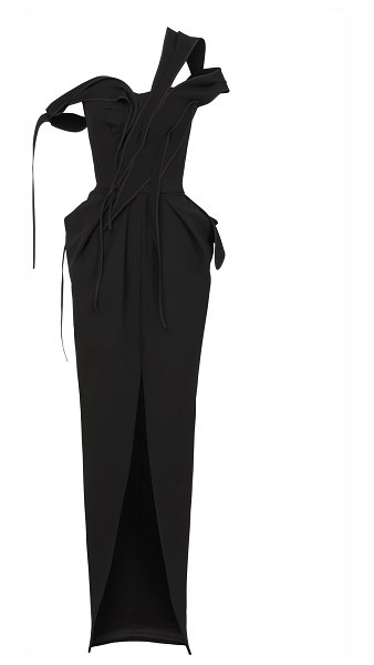 Maticevski abide draped cady gown in black