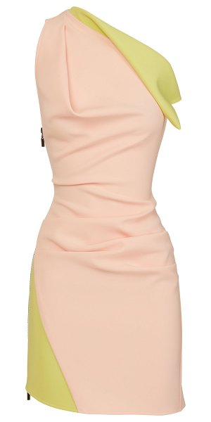 Maticevski endless two-tone one-shoulder cady mini dress in pink