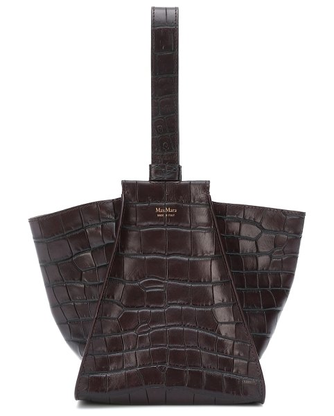 Max Mara anita xs croc-effect leather tote in brown - Nod to the trend for tactile embossed finishes with the...