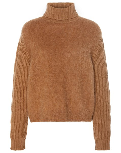 Max Mara formia paneled wool and cashmere-blend turtleneck sweater siz in brown