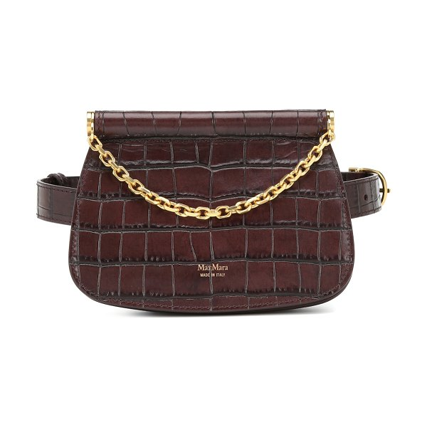 Max Mara jana croc-effect leather belt bag in brown