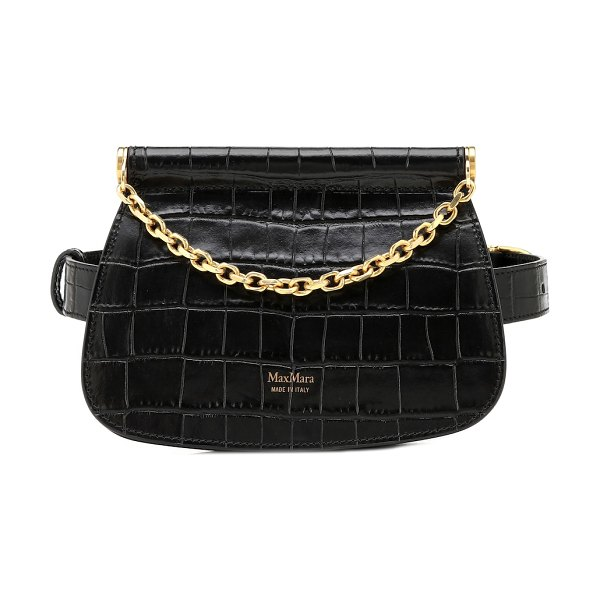 Max Mara jana croc-effect leather belt bag in black