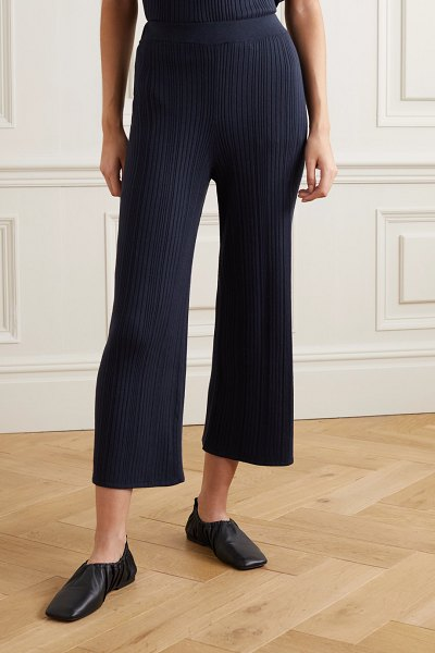 Max Mara leisure giusy ribbed-knit wide-leg pants in navy