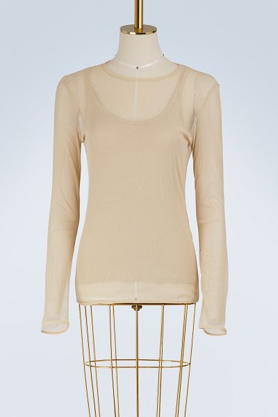 Max Mara Nadar tulle top in beige - With this Nadar tulle top, Max Mara modernizes the...