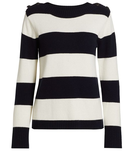 Max Mara pelota striped wool & cashmere sweater in white