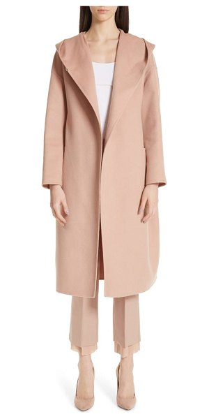 Max Mara pucci hooded double face camel hair coat in powder