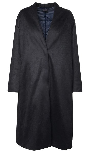 Max Mara Quilted wool blend long coat in navy