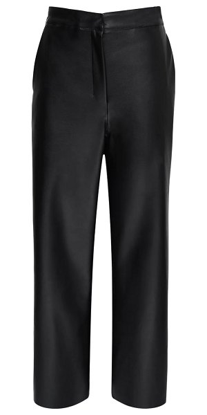 MAX MARA 'S High waist faux leather wide leg pants in black