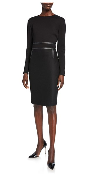 Max Mara Xeno Leather-Trim Jersey Long-Sleeve Dress in black