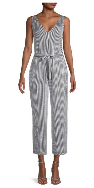 Max Studio Striped Tie-Waist Jumpsuit in black ivory