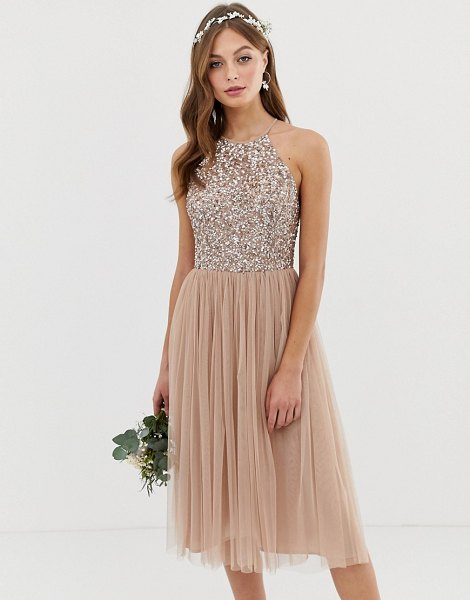 Maya bridesmaid high neck midi tulle dress with tonal delicate sequins-brown in brown