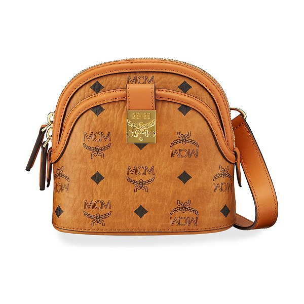 MCM Anna Visetos Logo Crossbody Bag in cognac